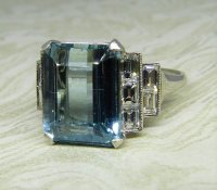Antique Guest and Philips - Platinum Aquamarine and Diamond Set Single Stone Ring
