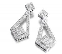 Princess & Round Brilliant Cut Diamond Earrings