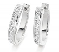 Round & Baguette Cut Diamond Earrings
