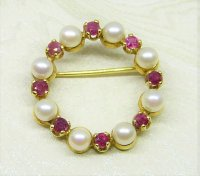 Antique Guest and Philips - Ruby and Pearl Set, Yellow Gold - Brooch