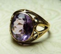 Antique Guest and Philips - 9ct Yellow Gold Oval Faceted Amethyst Set Ring