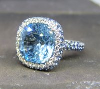 Antique Guest and Philips - Diamond and Topaz Set, White Gold - Cluster Ring