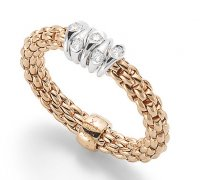 Fope - Flex'it, Diamond 0.07ct Set, Rose Gold - White Gold - 18ct 5 Rondelle Ring, Size Medium