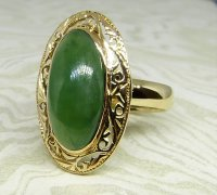 Antique Guest and Philips - Jade Set, Yellow Gold - Single Stone Ring