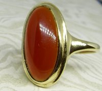 Antique Guest and Philips - Cornelian Set, Yellow Gold - Single Stone Ring