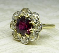 Antique Guest and Philips - Yellow Gold and Ruby Set Cluster Ring
