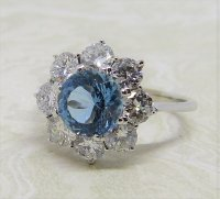 Antique Guest and Philips - 1.50ct Aquamarine Set, White Gold - Cluster Ring