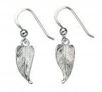 Gecko - Beginnings, Silver Leaf Drop Earrings