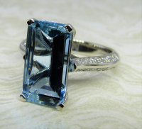 Antique Guest and Philips - Aquamarine Set, Platinum - Single stone Ring