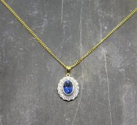 Antique Guest and Philips - Natural Sapphire and Diamond Set, White and Yellow Gold - Pendant