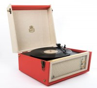 GPO Retro -  Bermuda Turntable in Red with Removable Legs