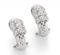 Fope - DIamond 0.30ct Set, White Gold - - Pave 3 Rondelle Earring