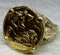 Antique Guest and Philips - 9ct Yellow Gold Half Sovereign 1911 Ring