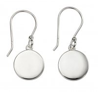 Gecko - Beginnings, Plain Disc Silver Drop Earrings