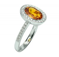 Guest and Philips - Orange Sapphire and Diamond Set, White Gold - Dress Ring