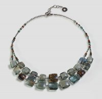 Antica Murrina - Byzantium, Murano Glass Set, Stainless Steel Grey/Blue Bead Double Necklace
