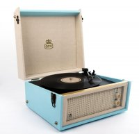 GPO Retro -  Bermuda Turntable in Blue with Removable Legs