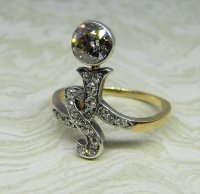 Antique Guest and Philips - Diamond Set, Yellow Gold - Platinum - Single stone Ring