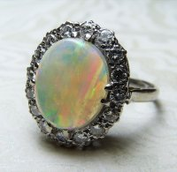 Antique Guest and Philips - 18ct White Gold Cabochon Opal and Round Brilliant Diamond Set  3 Row Ring