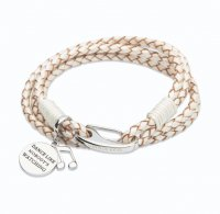 Unique - Pearl Set, Leather and Stainless Steel Engraved Disk Music Charm Bracelet