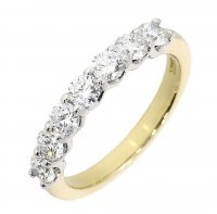 Guest and Philips - Yellow Gold and Platinum Diamond set 7 Stone Ring, Size Q