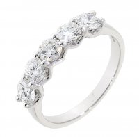Guest and Philips - Platinum and Diamond Set 5 Stone Ring, Size N
