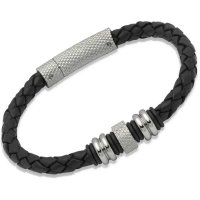 Unique - Black Leather with Stainless Steel Bracelet, Size 21cm