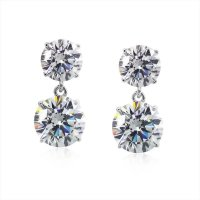 Carat London - Cubic Zirconia Set, 9ct. White Gold Brilliant 4 Prong Studs Earrings, Size Round 2ct