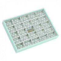 Stackers - Duck Egg Blue / Grey Polka Dot, Classic 25 Section Jewellery Box