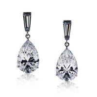 Carat London - Baguette and Pear Shaped Cubic Zirconia Set, 9ct. White Gold Drop Earrings
