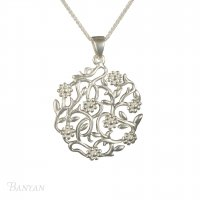 Banyan - Sterling Silver Flowering Silver Branches Pendant Necklace