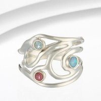 Banyan - Cubic Zirconia and Opalite Set, Silver Ring, Size P