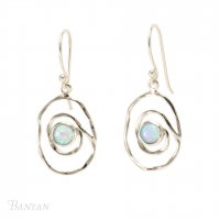 Banyan - Opalite Set, Sterling Silver Spiral Earrings
