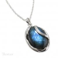 Banyan - Labradorite Set, Sterling Silver Pendant and Chain, Size 18""