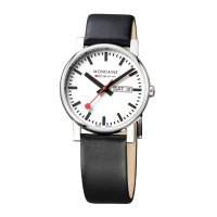 Mondaine - Gents, Stainless Steel and Black Leather Date Square Watch