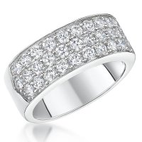 Jools - Cubic Zirconia Set, Silver Band Ring, Size P