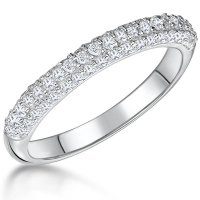 Jools - Cubic Zirconia Set, Silver Band Ring, Size N
