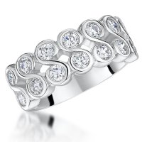 Jools - Cubic Zirconia Set, Silver Ring, Size P