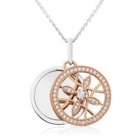 Waterford - C/Z Set, Rose/Silver Ornate Front Dbl Disc Pendant and Chain, Size 36inch