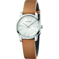 Calvin Klein - Ladies, City, Stainless Steel with Brown Leather Strap Watch