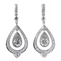 18ct White Gold & Diamond Set Drop Earrings