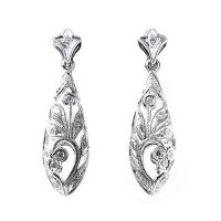 18ct White Gold & Diamond Floral Drop Earrings