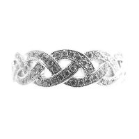 18ct White Gold & Diamond Celtic Crossover Band