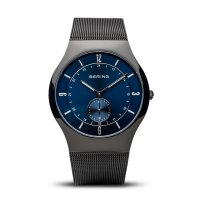 Bering - Men's Classic, Stainless Steel Blue Mesh Watch