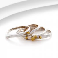 Banyan - Sterling Silver With Brass Detail Stack Ring, Size O