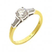 Three Stone Engagement Ring, Diamond Set in 18ct. Yellow and White Gold