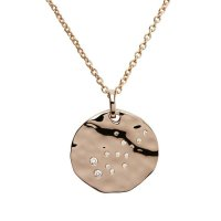 "Unique - Virgo Star Sign, Cubic Zirconia Set, Rose Gold Plated, 18"" Sterling Silver Chain and Pendant"