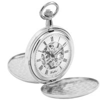 Woodford - Stainless Steel, Case and Chain Mechanical Pocket Watch, Size 50mm