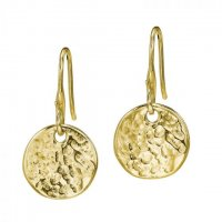 Dower and Hall - Nomad, Yellow Gold Plated Hammed Disc Earrings