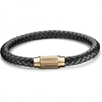 Tommy Hilfiger - Sterling Silver, Rose Gold Plated Leather Bracelet